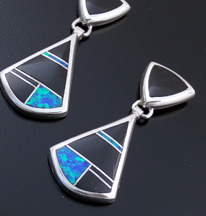 Supersmith Inc. - David Rosales Designs (Navajo) - Black Beauty Inlay & Sterling Silver Double Triangle Post Dangle Earrings #43359 ER633 $275.00