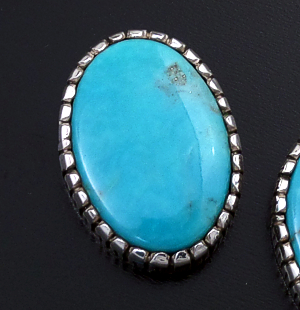 Supersmith Inc. - David Rosales Designs (Navajo) - Large Kingman Turquoise & Sterling Silver Oval Earrings #43370 $325.00