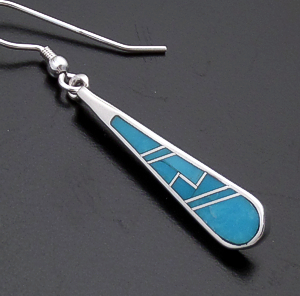 Supersmith Inc. - David Rosales Designs (Navajo) - Arizona Blue Inlay & Sterling Silver Narrow Teardrop Dangle Earrings #43371 ER108 $180.00