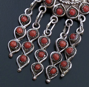 Wayne Johnson (Zuni) - Red Coral & Sterling Silver Petite Point Cluster & Fringe Dangle Earrings #43403 $190.00