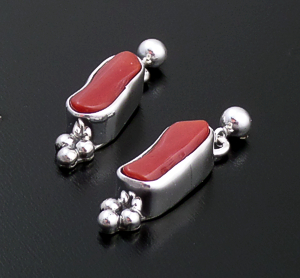 Navajo - Red Coral & Sterling Silver Beaded Post Dangle Earrings #43584 $125.00