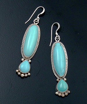 Navajo - Double Stone Turquoise & Sterling Silver Dangle Earrings #43585 $125.00