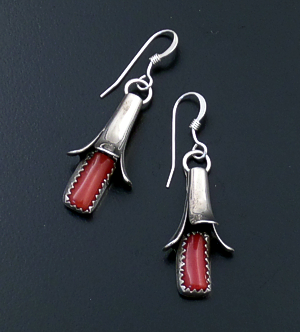 Doris Smallcanyon (Navajo) - Red Coral & Sterling Silver Squash Blossom Dangle Earrings #43586 $100.00