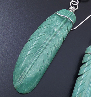 Cody Turpen (Navajo) - Large Carved Green Turquoise Feather Dangle Earrings #43696 $50.00