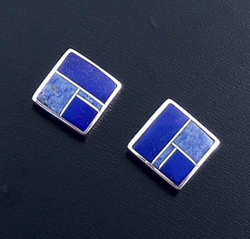 Supersmith Inc. - David Rosales Designs (Navajo) - Blue Water Inlay & Sterling Silver Simple Square Stud Earrings #43864 ER524 $170.00