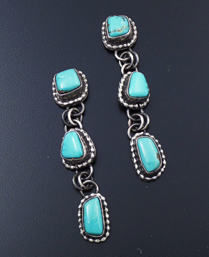 Navajo - Triple Stone Turquoise & Oxidized Sterling Silver Beaded Post Dangle Earrings #43906 $210.00