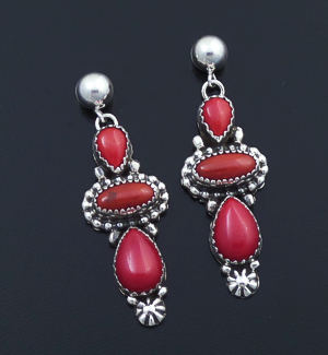 Roie Jaque (Navajo) - Three Stone Apple Coral & Ornate Post Dangle Earrings #43933 $250.00