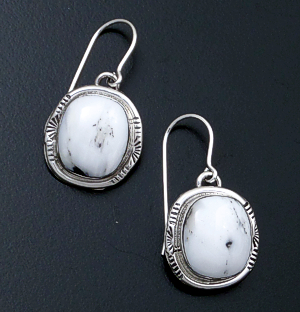 Navajo - White Buffalo Turquoise & Sterling Silver Stamped Edge Dangle Earrings #43974B $105.00