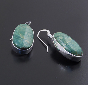 Elvira Chavez (Navajo) - Oval Turquoise Mountain Turquoise & Sterling Silver Dangle Earrings #44005 $135.00