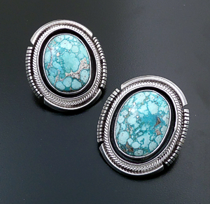 Roie Jaque (Navajo) - Large Ornate Oval Baby Aqua Turquoise & Sterling Silver Shadowbox Earrings #44336 $475.00