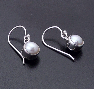 acleoni - Small Single Freshwater Pearl & Sterling Silver Dangle Earrings #5424 $65.00