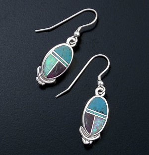 Supersmith Inc. - David Rosales Designs - Shalako Inlay & Sterling Silver Oval Dangle Earrings #6255 Style ER231 $165.00