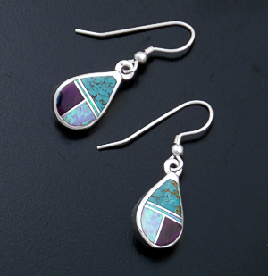 Supersmith Inc. - David Rosales Designs - Shalako Inlay & Sterling Silver Teardrop Dangle Earrings #6258 Style ER006 $150.00