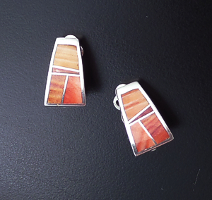 Supersmith Inc. - David Rosales Designs (Navajo) - Desert Fire Inlay & Sterling Silver Triangular Clip-On Earrings #26897 ER004 $150.00