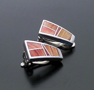 Supersmith Inc. - David Rosales Designs (Navajo) - Desert Fire Inlay & Sterling Silver Triangular Clip-On Earrings #26897 ER004 $165.00