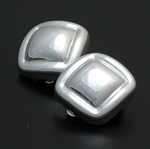 Zina - Sculpted Square Sterling Silver Earrings - Clip-On #36877 $180.00