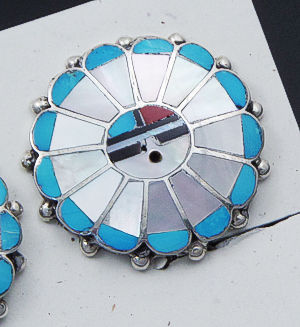 Zuni - Sunface Multistone Inlay Round Sterling Silver Earrings - Clip-On #40310A $85.00
