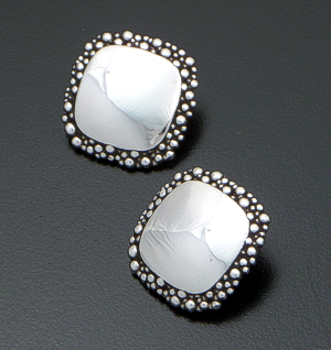 Zina - Square Raindrops Sterling Silver Clip-on Earrings #40881 $150.00