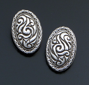 Zina - Large Oval Sterling Silver Lace Clip-on Earrings #42861 $90.00