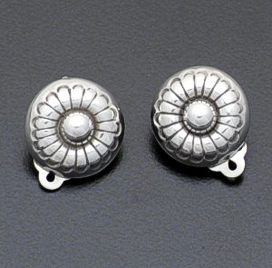 Mary Arviso - Stamped Sterling Silver Button Earrings - Clip-On #7187 $30.00
