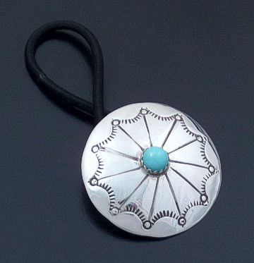 Navajo - Turquoise Accented Stamped Sterling Silver Concho Ponytail Hair Tie #14344 $45.00