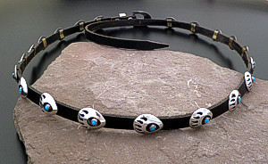 Navajo - Vintage Turquoise & Sterling Silver Shadowbox Bear Track Leather Hat Band #40485 $225.00