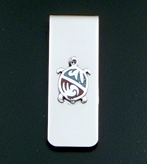 Navajo - Turquoise & Coral Chip Inlay Sterling Silver & Stainless Steel Turtle Money Clip #20439 $15.00