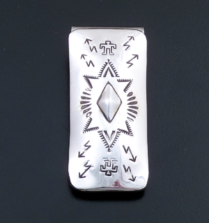 Arlene Tsosie (Navajo) - Stamped & Repoussé Sterling Silver Money Clip #24692A $30.00