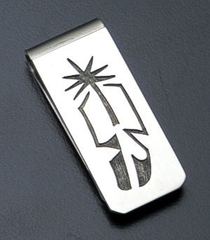 Vernon Begay - Feather Sterling Silver Overlay Money Clip #38095B $80.00