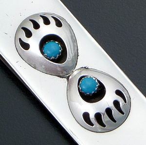 Virginia Long (Navajo) - Turquoise Sterling Silver & Stainless Steel Double Bear Track Money Clip #38098B $35.00