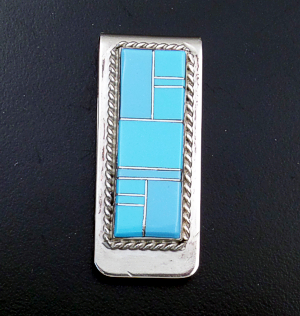 Arnold Yazzie (Navajo) - Turquoise Channel Inlay & Sterling Silver Money Clip #43385 $60.00