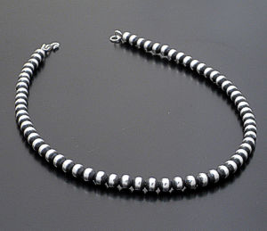 "Marilyn Platero - 18"" 7mm Navajo Pearl Burnished Sterling Silver Bead Necklace #22581 $165.00"