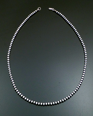 "Marilyn Platero (Navajo) - 24"" 5mm Navajo Pearl Burnished Sterling Silver Bead Necklace #23306 $135.00"