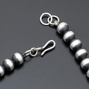 "Marilyn Platero - 24"" 7mm Navajo Pearl Burnished Sterling Silver Bead Necklace #23977 $220.00"