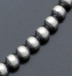 "Marilyn Platero - 18"" 5mm Navajo Pearl Burnished Sterling Silver Bead Necklace #24058 $105.00"