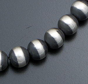 "Marilyn Platero (Navajo) - 18"" 12mm Navajo Pearl Burnished Sterling Silver Bead Necklace #24269 $500.00"