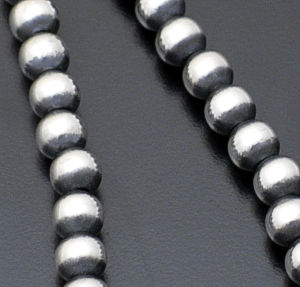 Marilyn Platero - 8mm Navajo Pearl Burnished Sterling Silver Bead Necklace #27393 $210.00