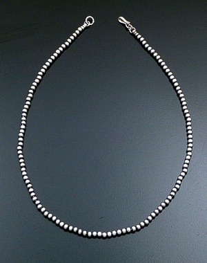 "Marilyn Platero (Navajo) - 18"" 4mm Navajo Pearl Burnished Sterling Silver Bead Necklace #28169 $90.00"