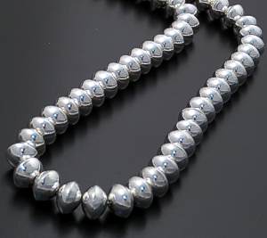 "Jeffrey Nelson (Navajo) - 20"" Handmade 10mm Sterling Silver Saucer Bead Necklace #31540 $440.00"