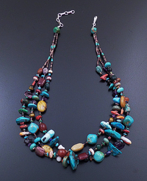 "Angel Coriz (Santo Domingo) - 17"" to 18"" Triple Strand Multistone Bead & Heishi Necklace #34321 $190.00"