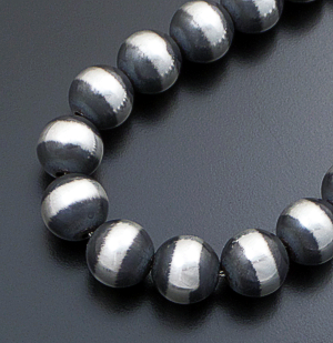 "Marilyn Platero (Navajo) - 18"" 16mm Navajo Pearl Burnished Sterling Silver Bead Necklace #36272 $695.00"