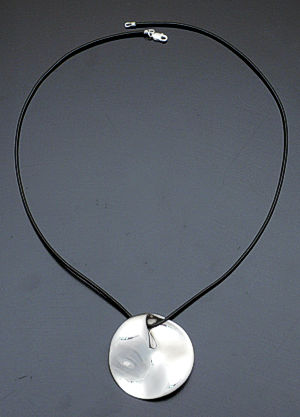 Zina - Mobius Disc Sterling Silver & Leather Pendant Necklace #36874 $220.00