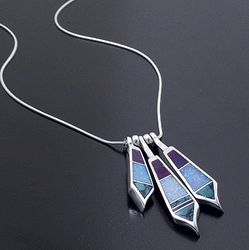 Supersmith Inc. - David Rosales Designs - Shalako Inlay & Sterling Silver Three Piece Drop Necklace #37695 Style N012 $270.00