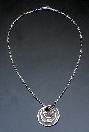 "Zina - 17"" Sterling Silver Waves Disk Pendant Necklace #37890 $210.00"
