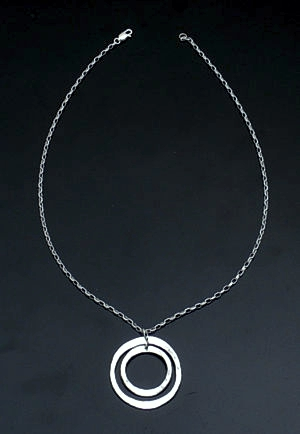 Zina - Sterling Silver Rippled Circles Pendant Necklace #37932 $90.00