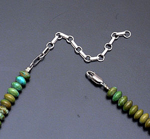 Green Turquoise Boulder, Carnelian & Sterling Silver Necklace #38068 $295.00