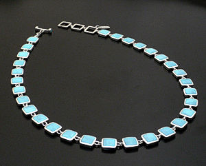 acleoni - Square Turquiose & Sterling Silver Full Link Necklace #38782 $1,125.00