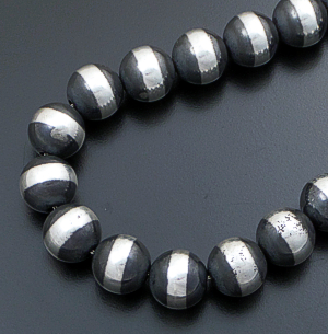 "Marilyn Platero (Navajo) - 24"" 16mm Navajo Pearl Burnished Sterling Silver Bead Necklace #39215 $875.00"