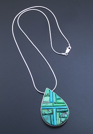 Supersmith Inc. - David Rosales Designs - Pine Hill Cobble Inlay & Sterling Silver Large Teardrop Pendant Necklace #39396 Style N170C $390.00