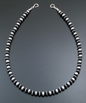 "Marilyn Platero (Navajo) - 20"" 8mm Mixed  Burnished Sterling Silver Bead Necklace #39432 $295.00"